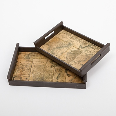 Wooden Serving Tray with Antique Map