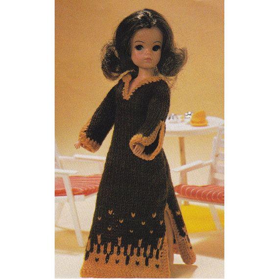 Vintage Dolls Knitting Patterns : Vintage Sindy Doll Knitting Pattern Kaftan Dress 12 Inch ...