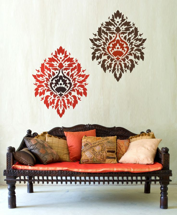 Damask Stencil Nadya LG scale - stencils instead of wallpaper - DIY wall decor. $39.95, via Etsy.
