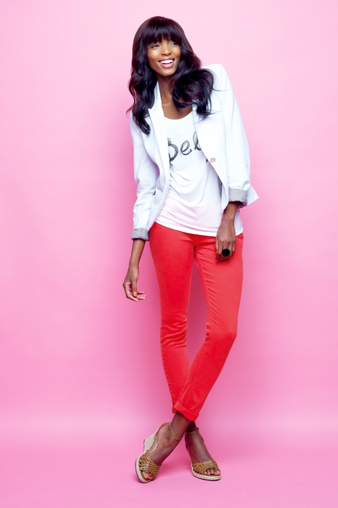 Kelso blazer, printed belle top and coloured denim