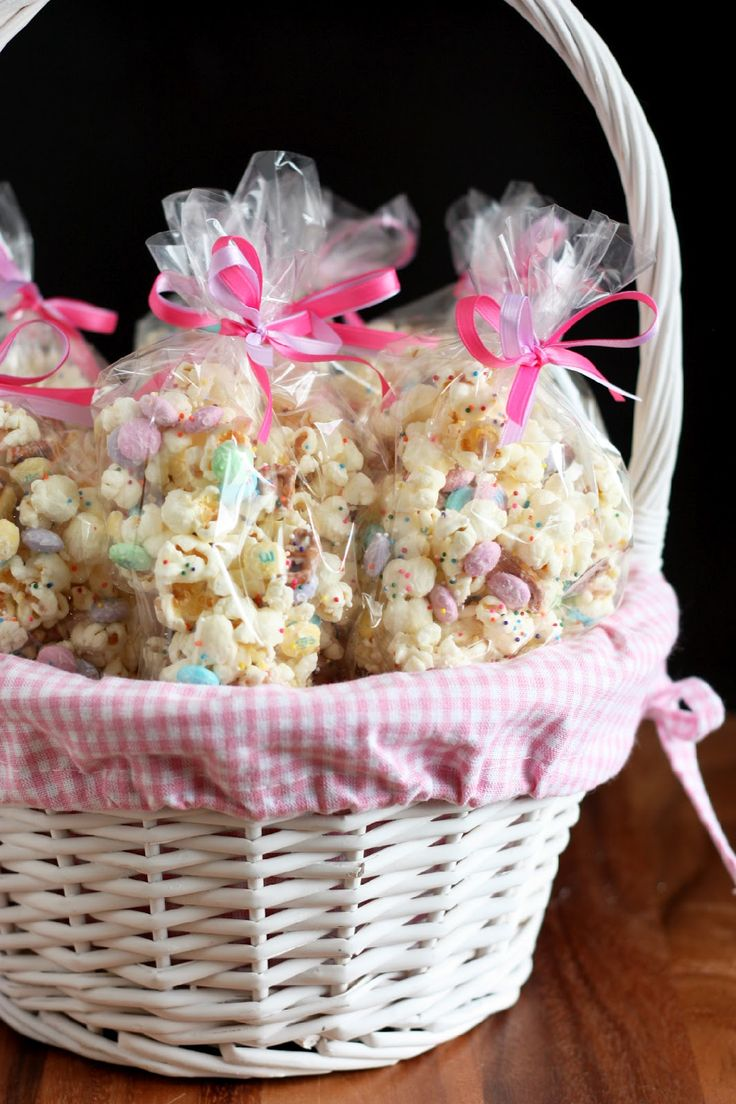 Funfetti Popcorn (or Bunny Bait for Easter):  popcorn with white chocolate, pretzels, M's and sprinkles...customize the colors for holidays or your party theme