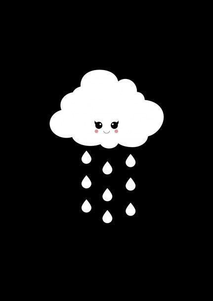 Poster A3 zwart-wit wolkje met regendruppels. Ontzettend leuk om de babykamer en kinderkamer mee te decoreren monochrome monochromekids monochromebaby