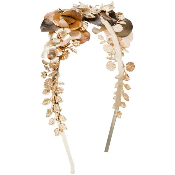 Eugenia Kim Iris Floral Cocktail Headband featuring polyvore fashion accessories hair accessories gold flower headband beaded headband floral hair accessories leather headband vintage headbands