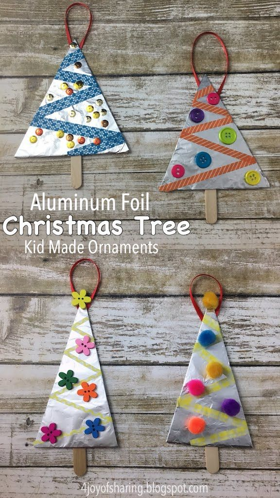Aluminum Foil Christmas Tree Ornaments #ChristmasOrnaments #ChristmasCrafts #ChristmasTree #KidMadeChristmas