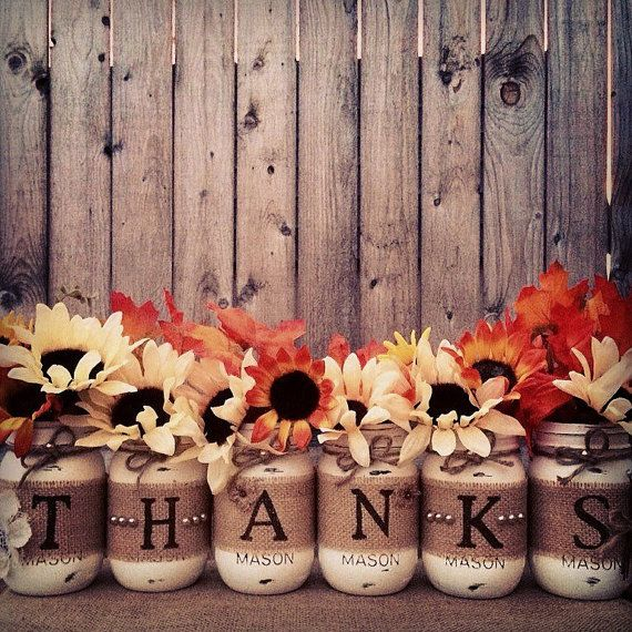 Thanks Mason Jars Thankful Decor Painted Mason Jars
