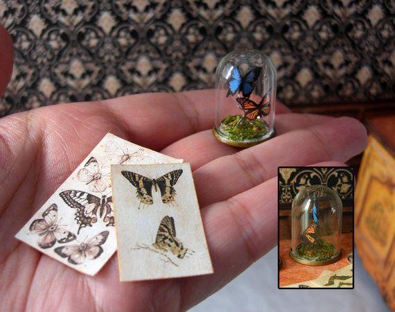 Miniatura - Taxidermia de papel imitación, cúpula de vidrio - dos mariposas - Victorian Steampunk - escala 1:12