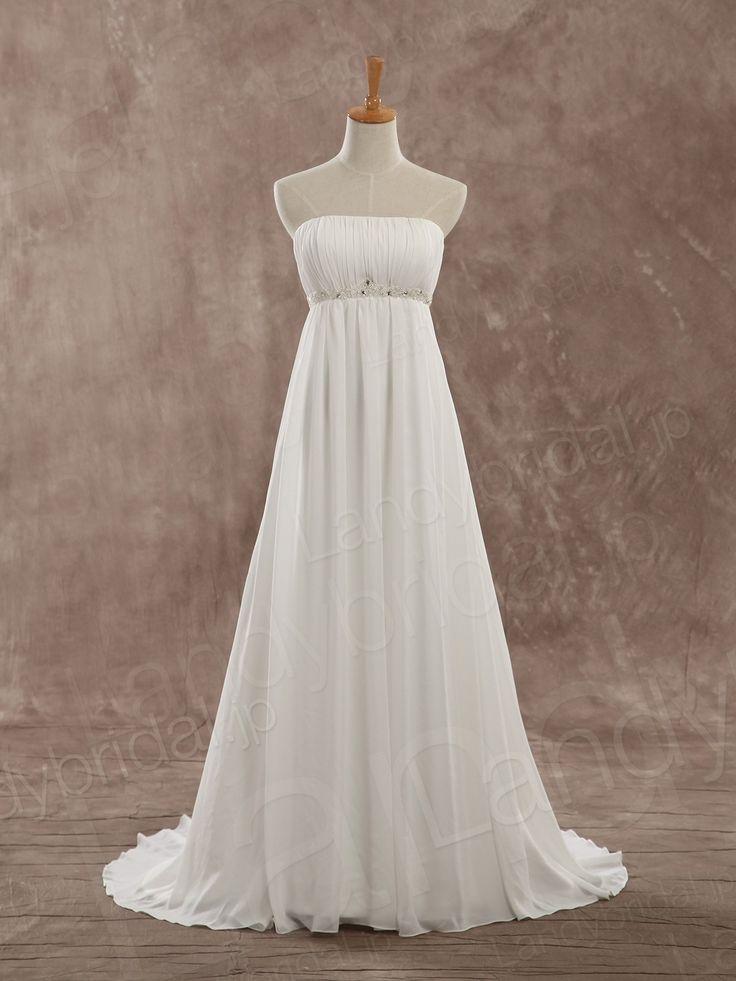 ウェディングドレス エンパイアライン 二次会ドレス 柔らかいシフォン ビジューベルト 海外ウェディング LD3362