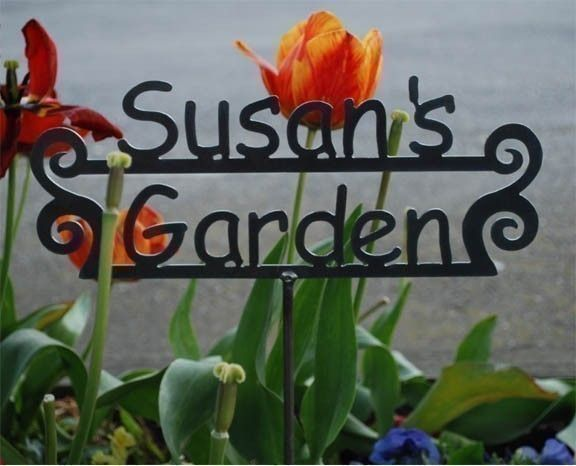 CUSTOM GARDEN sign - Great gift - Personalized Metal Sign for the Garden - 14 designs to choose from. $32.50, via Etsy.