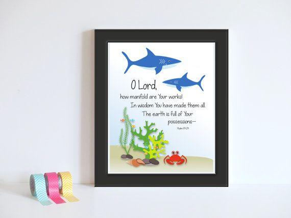 Psalm 104:24 Ocean Print Sea Animals Decor / by AnayaMichelleDecor