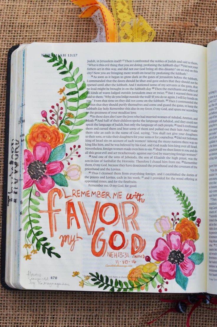 Nehemiah 13:31 November 10, 2016 carol@belleauway.com, watercolor, bible art journaling, journaling bible, illustrated faith