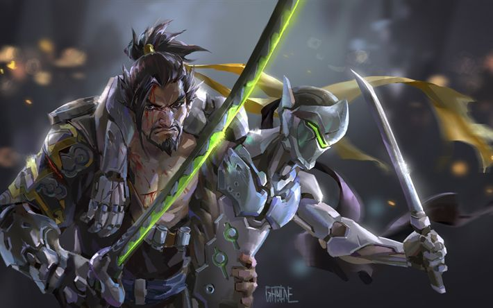 Download wallpapers Hanzo, Genji, art, sword, Overwatch