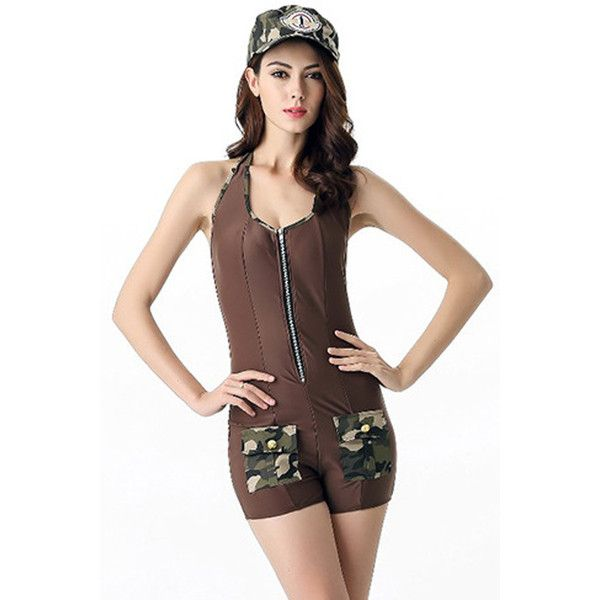 Coffee Sexy Army Costume ($30) ❤ liked on Polyvore featuring costumes, coffee, sexy army halloween costume, sexy army costume, white costume, sexy halloween costumes and army costume
