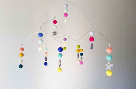 Check out this item in my Etsy shop https://www.etsy.com/listing/268161975/modern-felt-ball-baby-mobile-modern