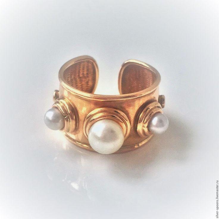 Купить Кольцо с жемчугом. - украшение для невесты, натуральный жемчуг, белый жемчуг, золотое украшение