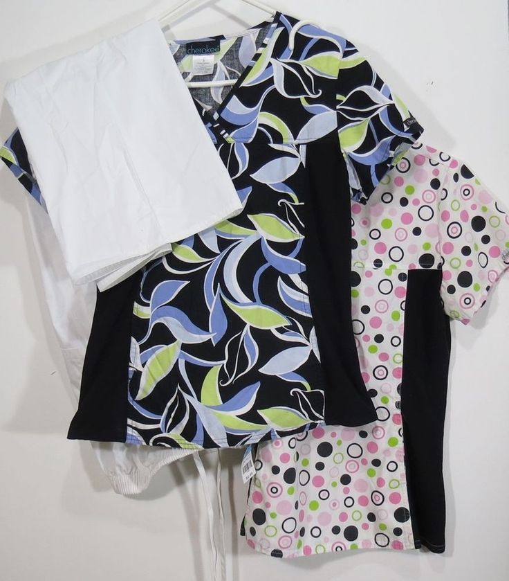 3 pc Scrub LOT Sz XS Set 2 Tops 1 Bottom Size Uniform Medical Scrubs White Pink  #Cherokee