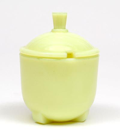 Yellow colopal glass jam-jar design A.D.Copier 1931 executed by Glasfabriek Leerdam / the Netherlands