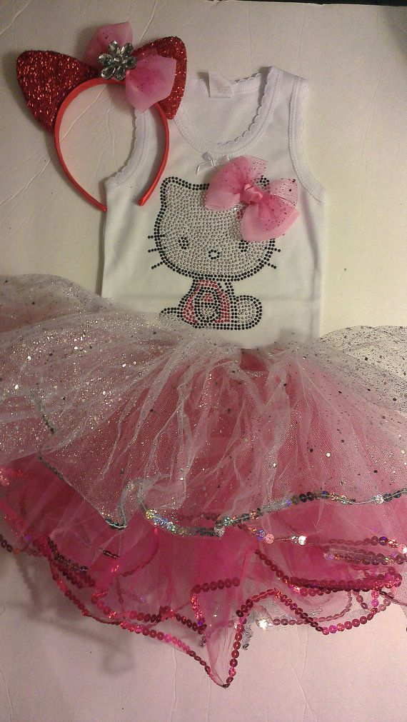 Hello Kitty 2nd Bday??? 3 pc Hello Kitty Tutu costume and Pink Studded by LITTLETREASURE4U, $24.50