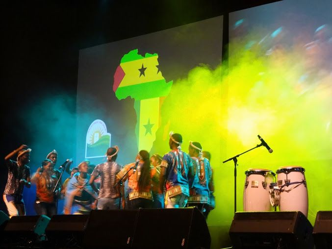 A welcome song at the BWA's 2015 World Congress opening session. It included singing, dancing and a presentation with flags of African nations rotating on screen in map of Africa. Photo by Brian Kaylor.