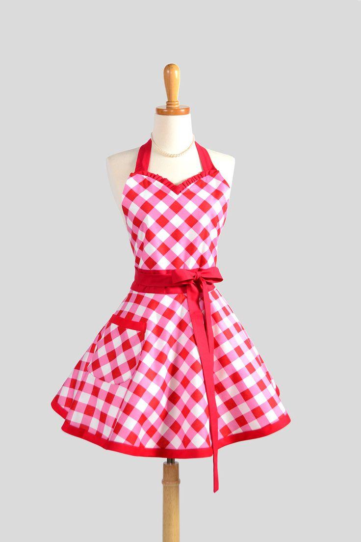 Sweetheart Retro Apron / Cute Kitchen Full Retro Womens