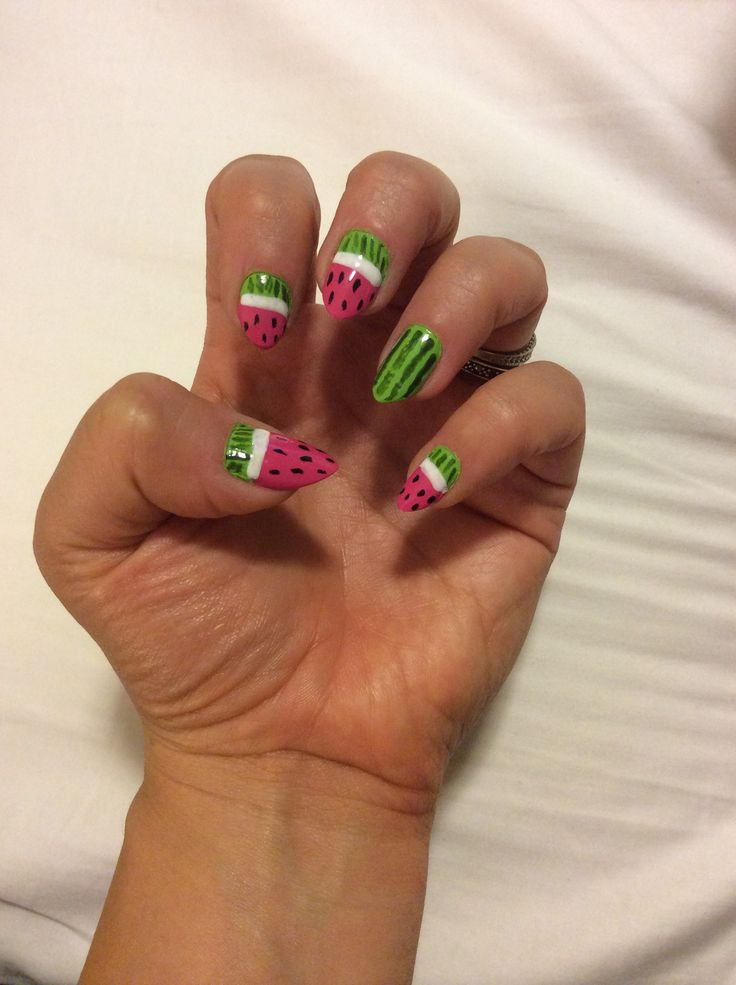 Watermelon Nails Pointed Nails Stiletto Nails Almond