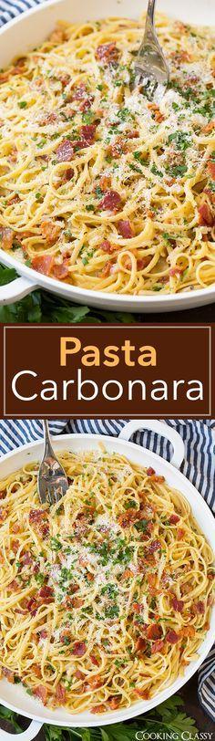 Ingredientes Carne 8 rebanadas de tocino Productos frescos 4 dientes de ajo 1 Perejil , fresco refrigerados 1 yema de huevo , grande 3 huevos, grandes Pasta y semillas 1 Linguine libras o espaguetis Repostería Y Especias 1 cucharadita de sal y pimienta Lácteos 1 1/4 tazas de queso parmesano Líquidos 8 1/2 tazas de agua Carbonara Pasta - esta es la mejor pasta carbonara Fácil suficiente para una comida entre semana con todo bastante deliciosa para servir a los clientes en el fin de semana