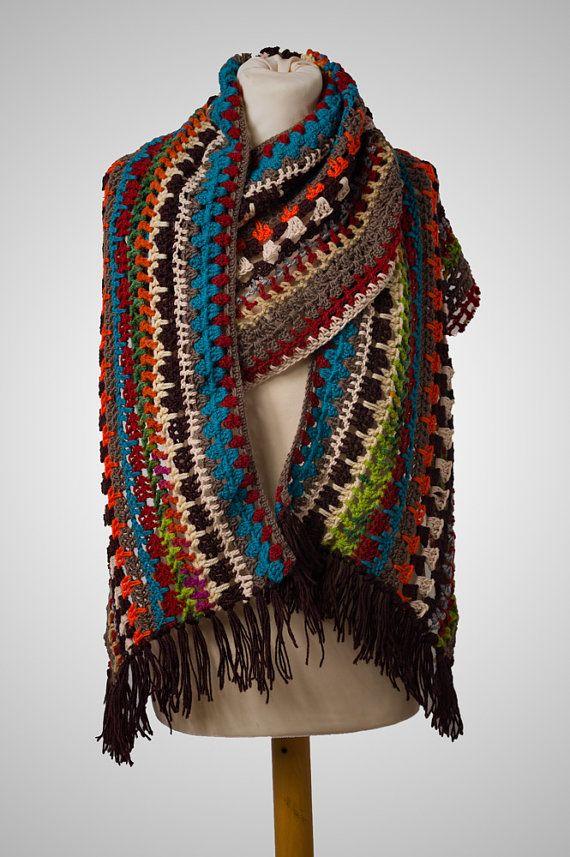 Handmade crochet scarf Ethnic Boho wrap in by AnnasHandmadeknit
