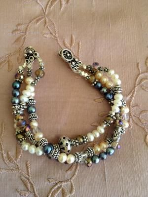 Freshwater pearl silver and stone bracelet by urbangypsydreams~<3 by Vera Surjadi