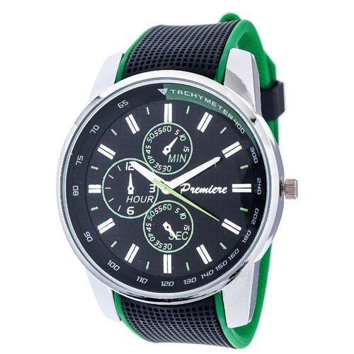 Ρολόι Premiere Unisex Black-Green Rubber Strap