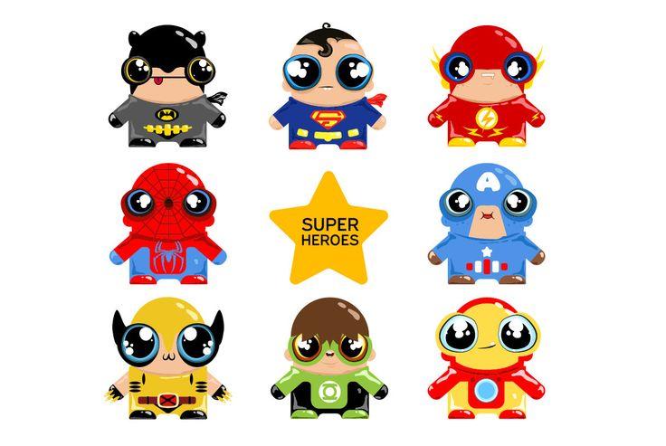 BUY 2 GET 1 FREE - Superhero - Printable - Batman - Captain America - Flash - Green Lantern - Iron Man -  Spiderman - Superman - Wolverine by DigitalCuteDesign on Etsy