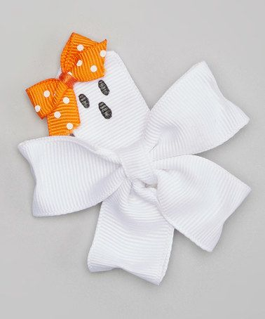 Look what I found on #zulily! White & Orange Ghostly Bow Hair Clip #zulilyfinds