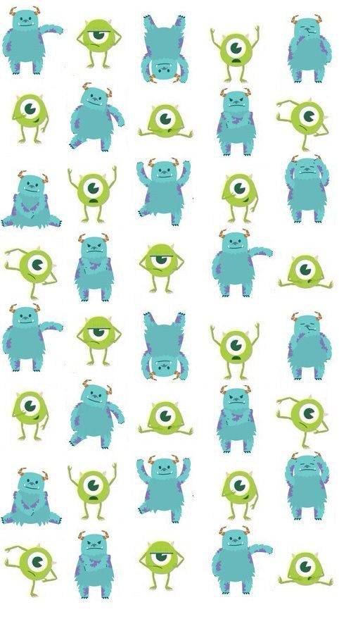 [人気キャラ大盛り]モンスターズインク3 iPhone壁紙 Wallpaper Backgrounds iPhone6/6S and Plus  Monsters Inc. Pattern iPhone Wallpaper