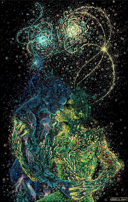 El artista multidisciplinario e ilustrador James R. Eads juega con el movimiento y el color para representar la armonía de las personas, su relación con las fuerzas de la naturaleza y la conexión con el cosmos. Con remolinos inspirados en los cielos deVan Gogh ypinceladas caóticasde color sobre fondos obscuros, su estilo explota en un […]