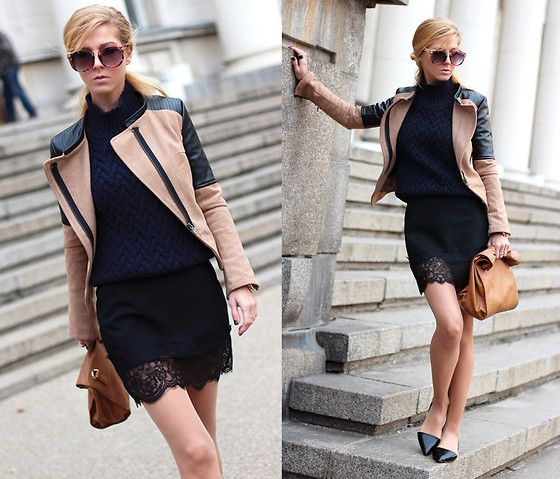 Sheinside Beige Contrast Pu Leather Sleeve Coat, Zara Skirt, Zara Sweater, Choies Vintage Sunglasses With Metal Arrow In Floral, Zara Flats, Zara Bag