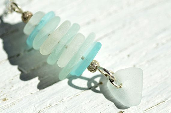Aqua and White Stacked Sea Glass by SeaGlassRocks on Etsy
