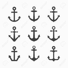Conjunto de símbolos de Anclaje: anclas de diferentes formas en blanco y negro. Ilustraciones Vectoriales. Fondo blanco.