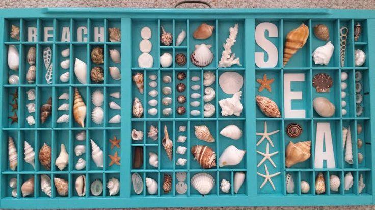 Seashell Vintage Printers Tray - Printers Box - Beach Decor - Nautical by CathysCoastCreations on Etsy https://www.etsy.com/listing/248343977/seashell-vintage-printers-tray-printers