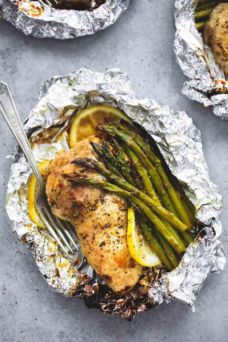 Lemon Chicken & Asparagus Foil Packs   lecremedelacrumb.com