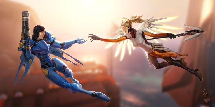 Overwatch flying couple~~ But  it seems this two have to prepare meeting their parents now XDDDDD (Anna OS:My former battle companion and my dear daughterΣ( ° △ °   )??