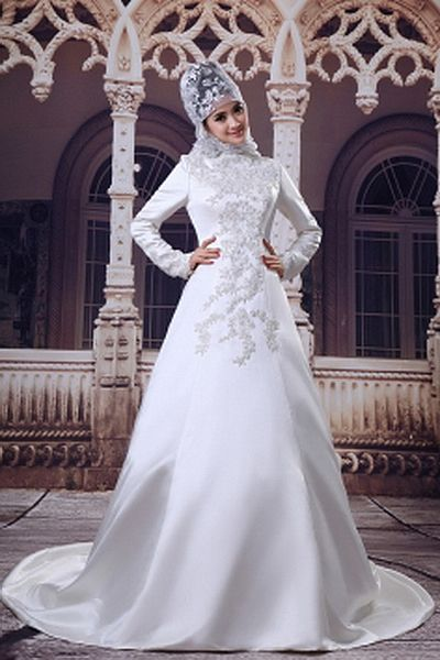 Elegant High Neck A-Line Wedding Dress wr0609 - http://www.weddingrobe.co.uk/elegant-high-neck-a-line-wedding-dress-wr0609.html - NECKLINE: High Neck. FABRIC: Satin. SLEEVE: Long Sleeves. COLOR: Ivory. SILHOUETTE: A-Line. - 161.59