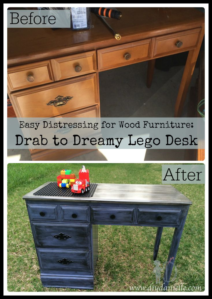 Before vs. After Drab to Dreamy Lego Desk: How I distressed an old desk for my son's room.