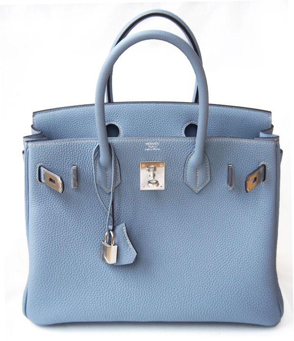 Hermes Birkin 30 Cm Blue Lin Togo Leather Bag | MALLERIES