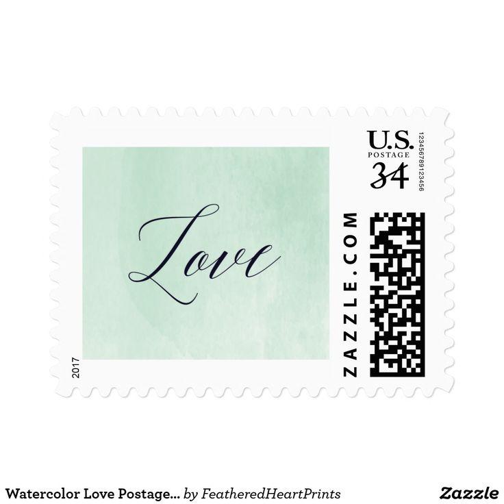 Watercolor Love Postage Stamp, teal mint wedding
