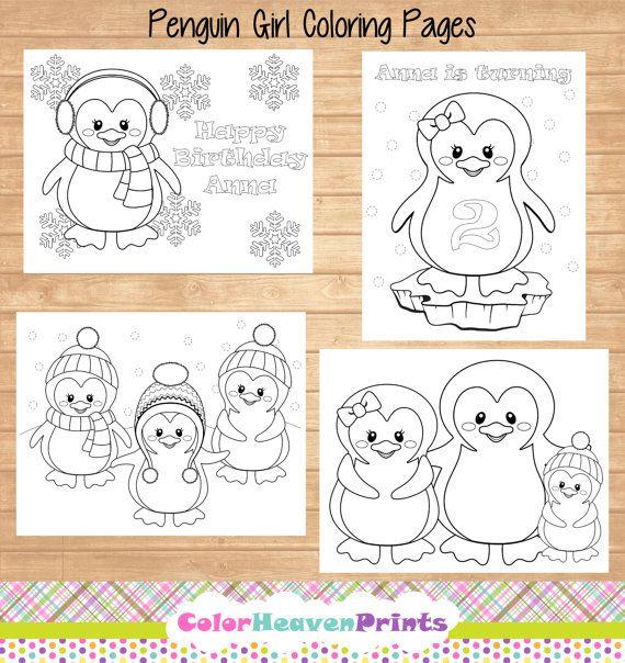 Penguin Coloring Pages  Penguin Party  by ColorHeavenPrints, $7.00