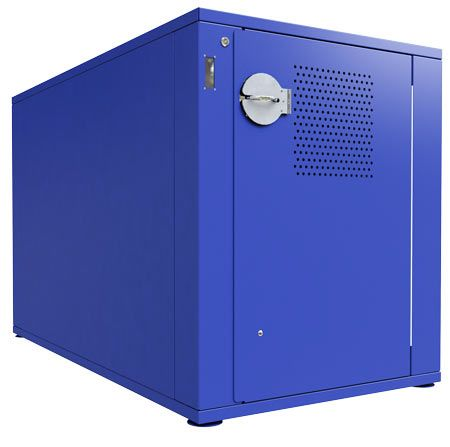All steel bicycle security locker manufactured by Dero Bike Rack Co.
