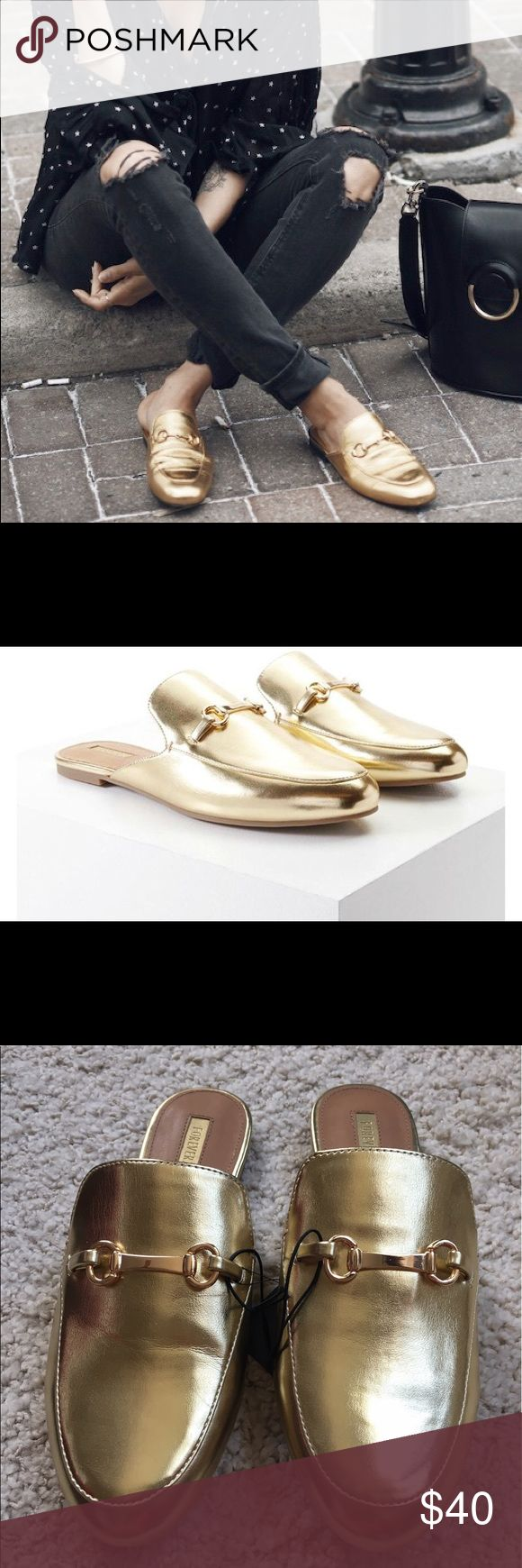 Princetown Metallic Gold Slipper Mule A pair of faux leather loafer mules featuring a metallic design, an almond toe, high-polish bar, a slight heel, and an open back.  DESCRIPTION The Princetown slipper is reintroduced in metallic gold with symbolic gold-tone Horsebit. Forever 21 Shoes