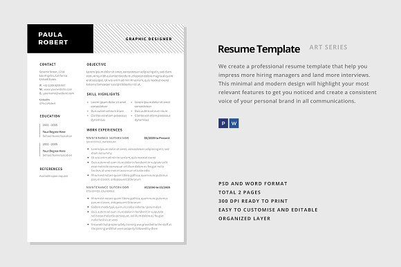 Simple Resume Template (MS Word) by TheFrenchResume on - resume template ms word