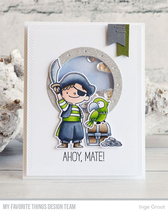 Party Like a Pirate stamp set and Die-namics, Inside & Out Diagonal Stitched Rectangle STAX Die-namics, Ocean View Porthole Die-namics - Inge Groot #mftstamps