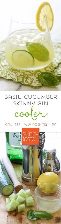 Basil-Cucumber Gin Cooler – if you're looking for a signature cocktail that looks like it jumped right off a spa cuisine menu for under 140 calories, this is it: