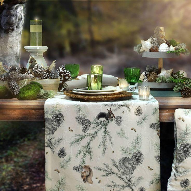 Für den Herbst und natürlich auch zu Weihnachten: PINO mit den Eichhörnchen Tischsets - Sander-Tischwäsche.de