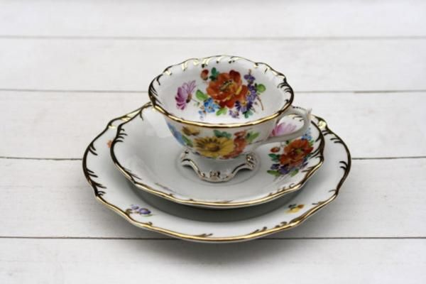 Stunning Rare Hand Painted Mixed Floral Teacup Trio Set 600 by CirceCollectables